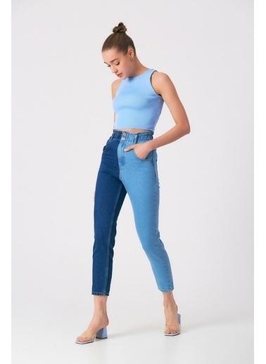 Robin Kontrast Elastik Bel Jean Pantolon Açık Mavi-Koyu Mavi Mavi